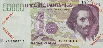 Italian bank note featuring Gian Lorenzo Bernini