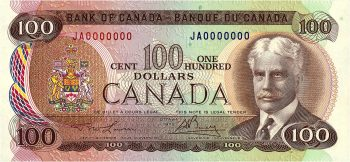 $100 Canadian bank note featuring Sir Robert Borden, 1976