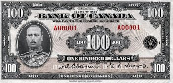 $100 Canadian bank note with Prince Henry, 1935