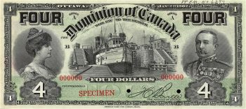 Dominion of Canada $4 bank note with Lord and Lady Minto
