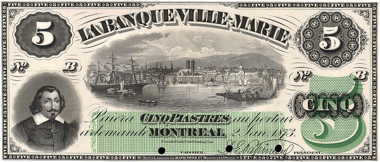 Banque Ville-Marie bank note featuring Champlain