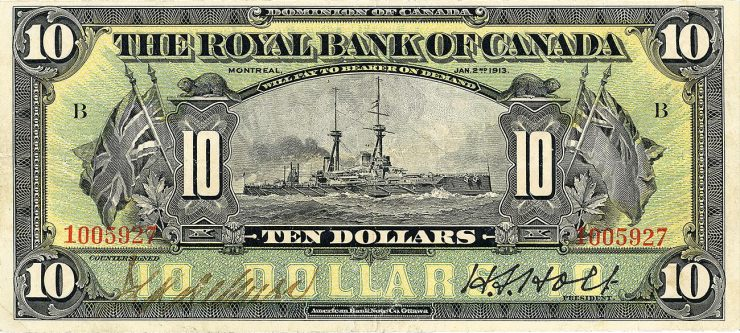 $10 bank note from the Royal Bank of Canada featuring a First World War battleship at sea