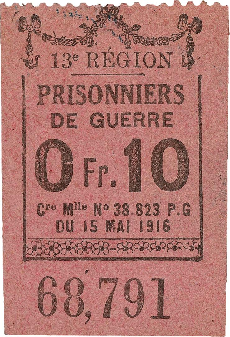 ticket worth 10 centimes from French prisoner of war camp