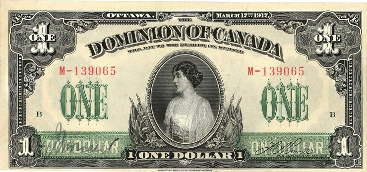 $1, Dominion of Canada bank note featuring Princess Patricia in a patriotic frame