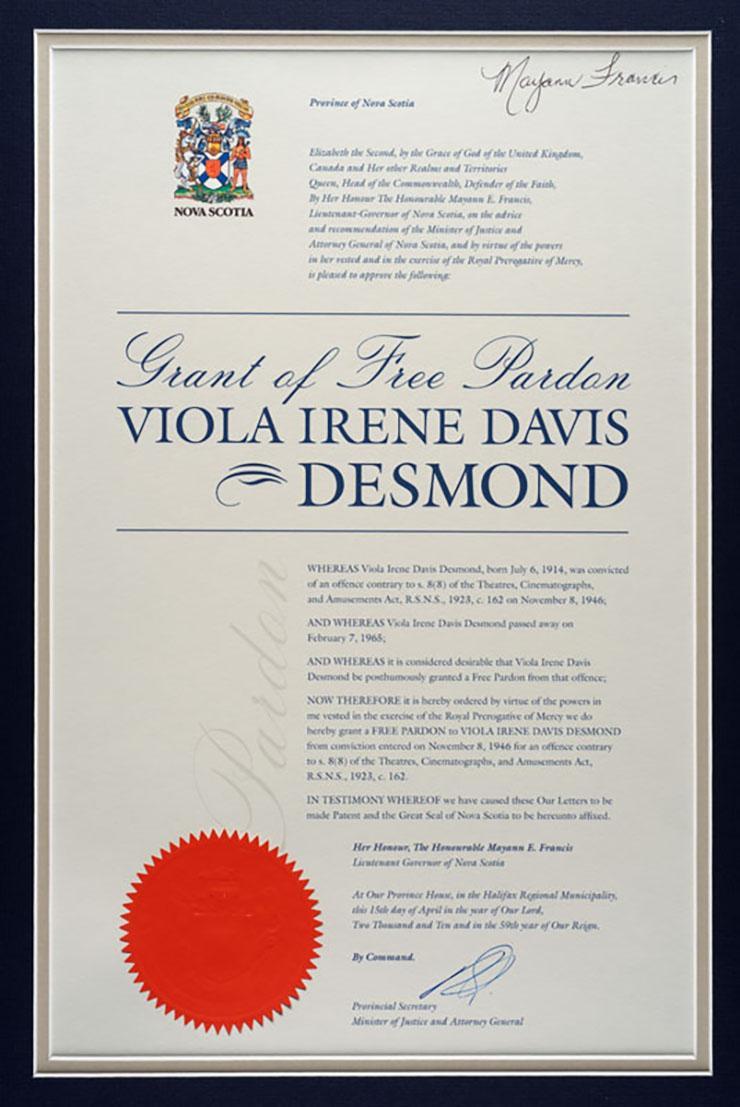 Viola Desmond Free Pardon