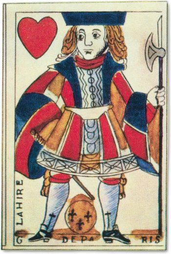front of an 18th century jack of hearts playing card