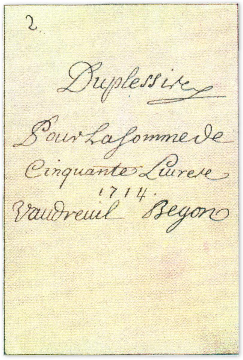 back of an 18th century playing card featuring the signatures of authorities of New France