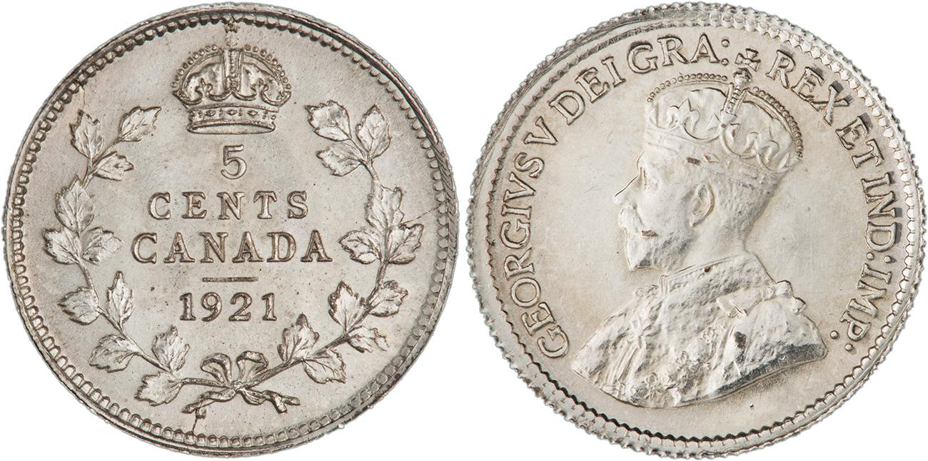 a silver 1921 Canadian 5¢ piece