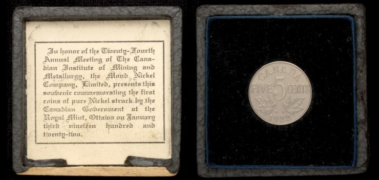 1922 nickel in black leather case with inscription from Mond Nickel Co. Ltd.