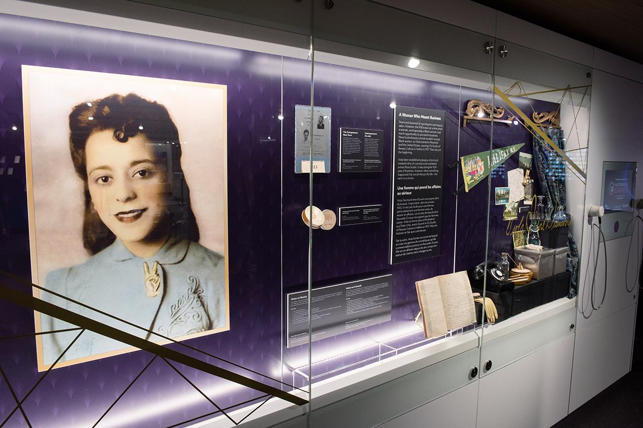 exhibit case with big picture of Viola Desmond