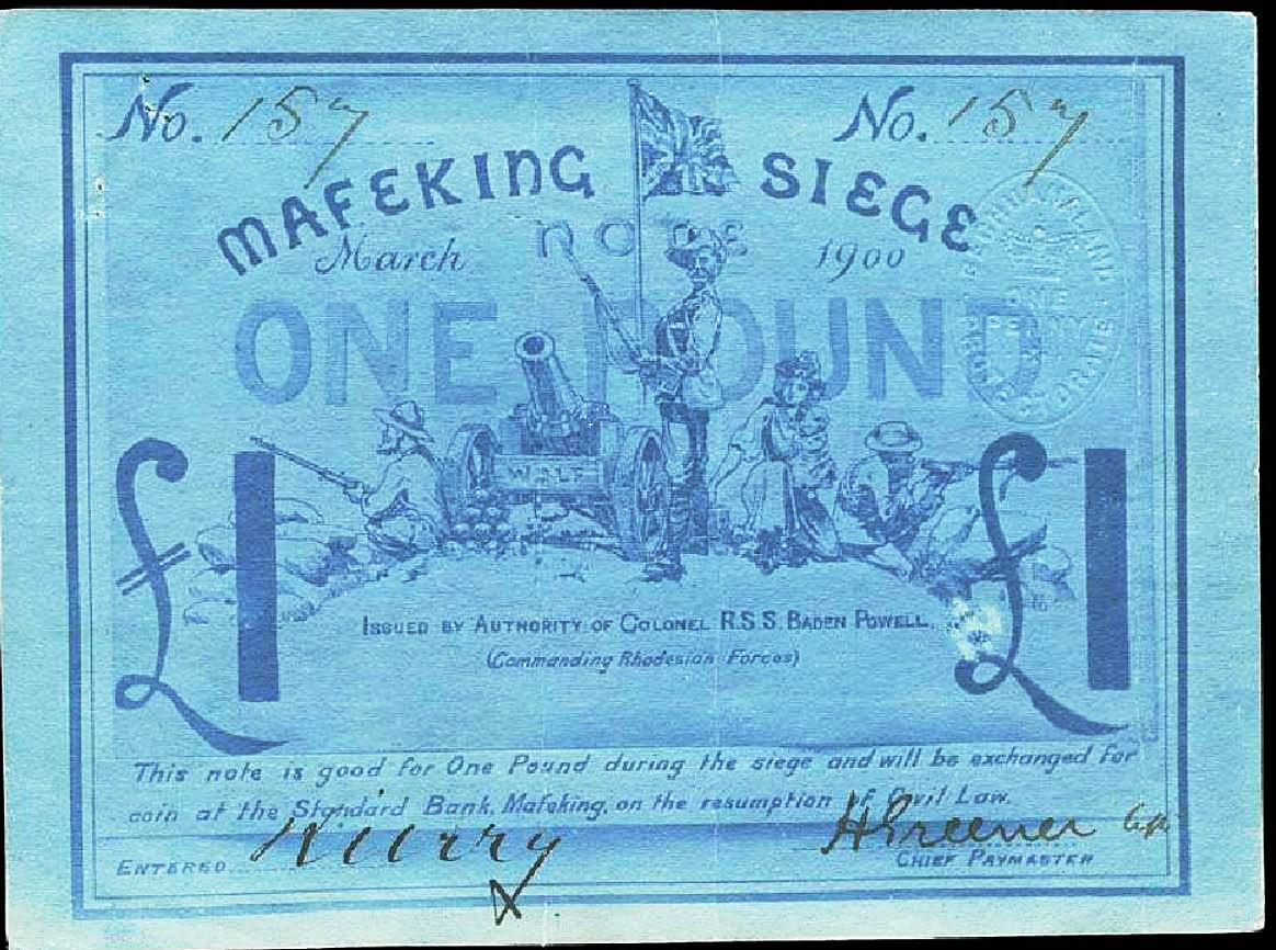 a one-pound note in blue showing soldiers, a woman and a cannon with a Union Jack overhead