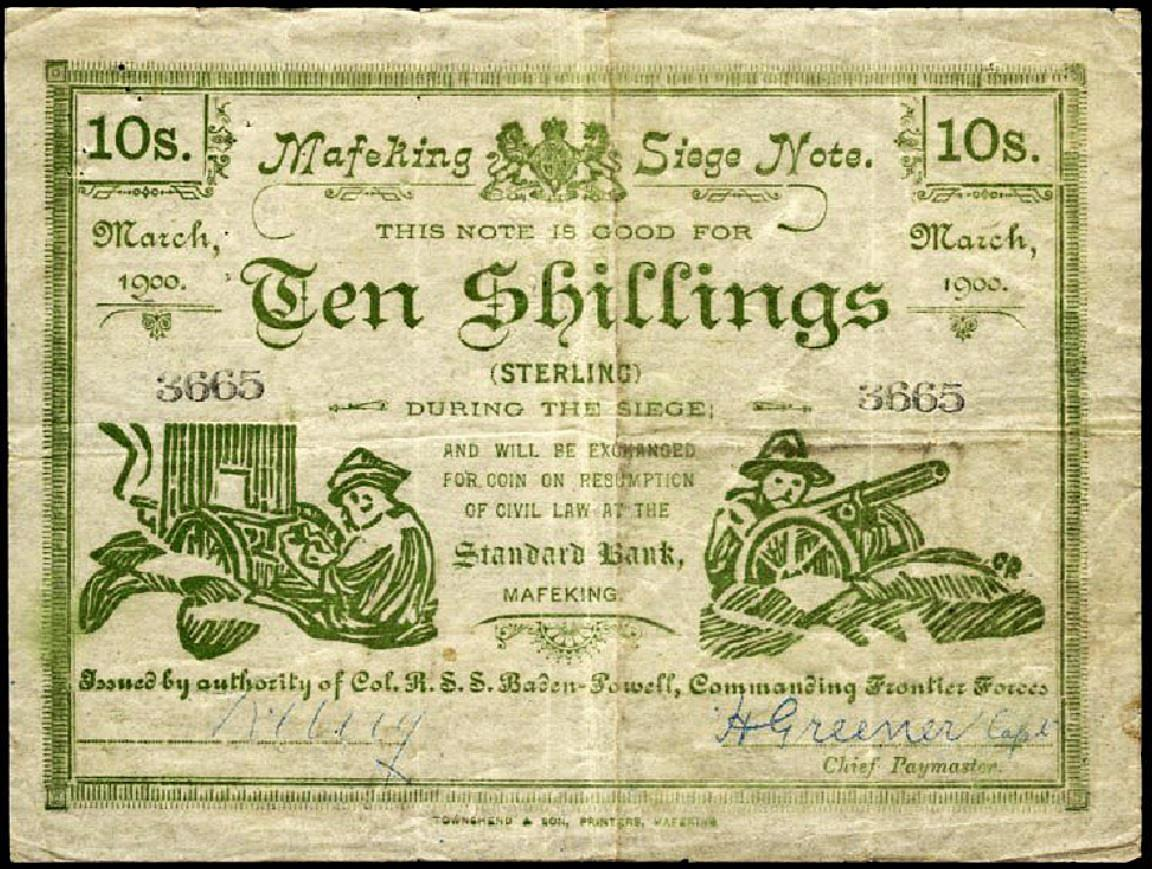 a 10-shilling note with a hand-made woodcut print of soldiers and field guns