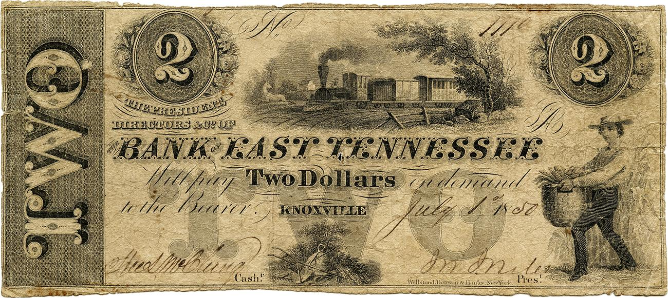 Bank of Tennessee $2 bank note