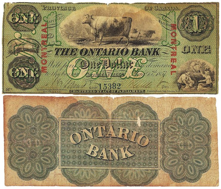 Ontario Bank $1 bill