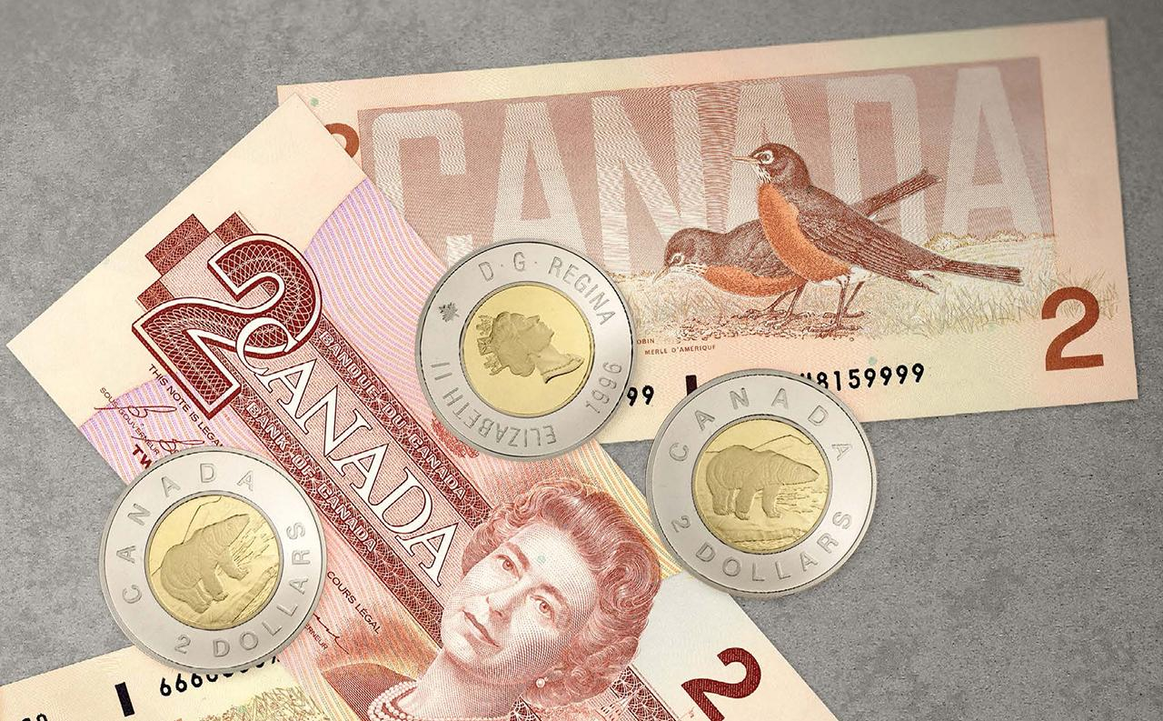 Canadian 2-dollar coins and bills
