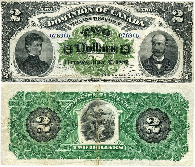 Canadian 2-dollar bill, late 19th century