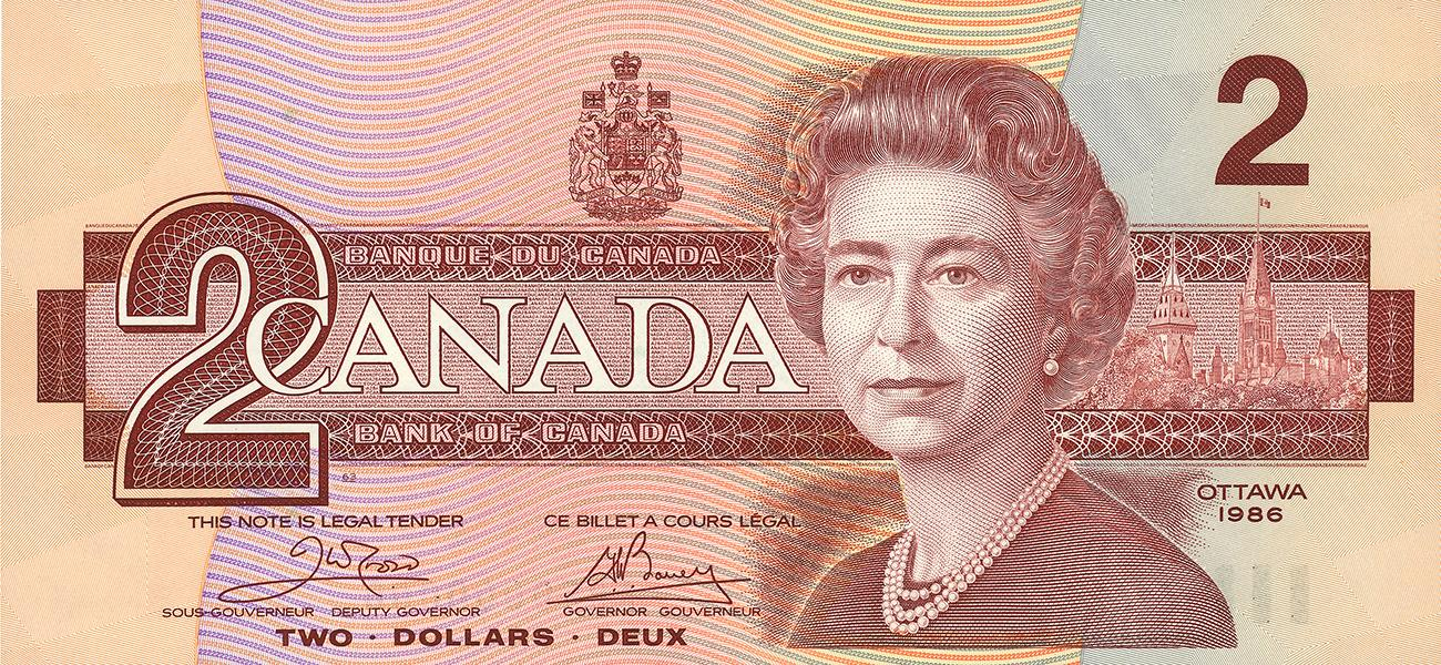 Canadian $2 bill, face, 1986