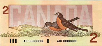 Canadian $2 bill, showing 2 robins, 1986