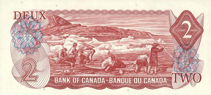 Canadian $2 bill, back 1974