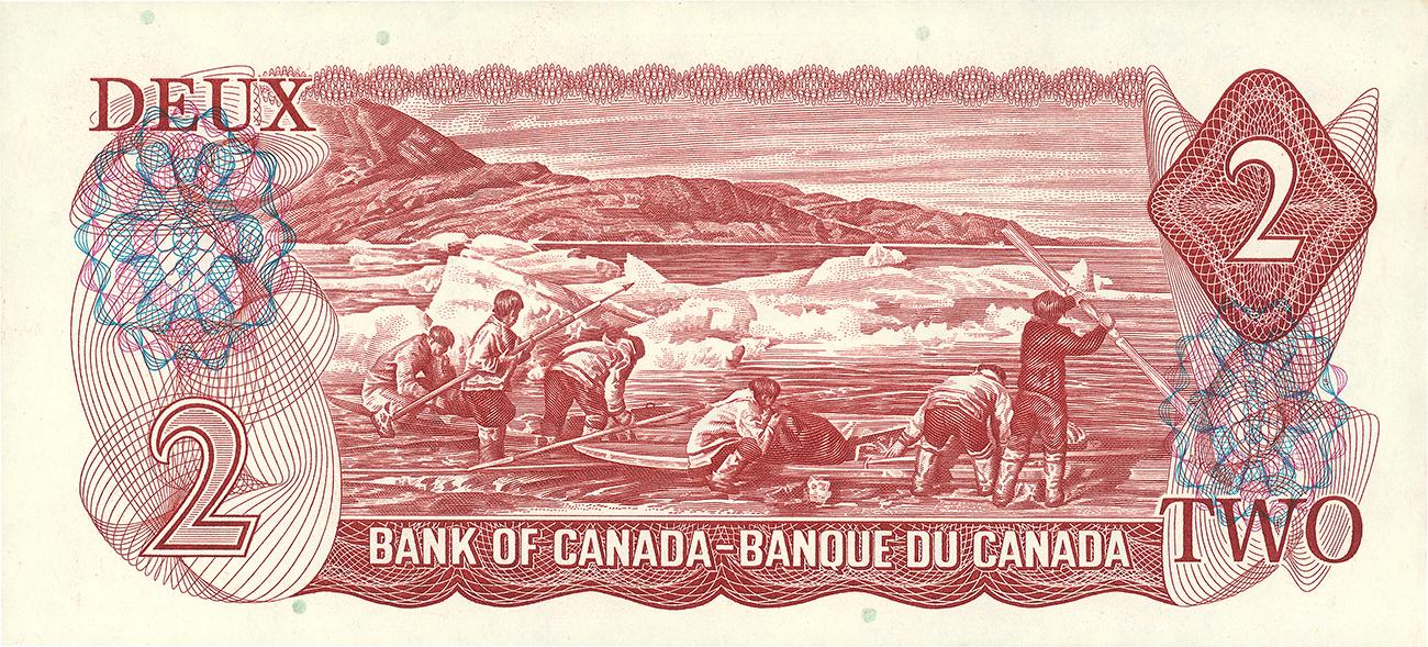 Canadian $2 bill, back 1974