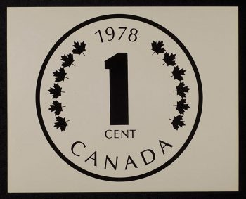 "a print of a coin design: a ""1"" in the middle and ""Canada"" below"