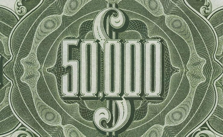 $50,000 denomination from antique bank notes