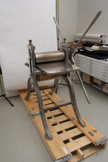 19th century print press, treated, in work space
