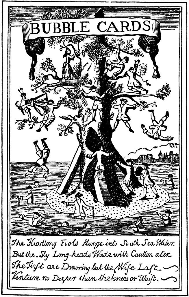 19th century Illustration of people leaping from a tree into water