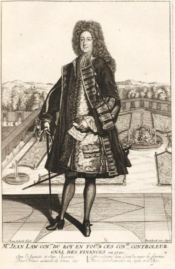 18th century engraving of Law standing on a terrace