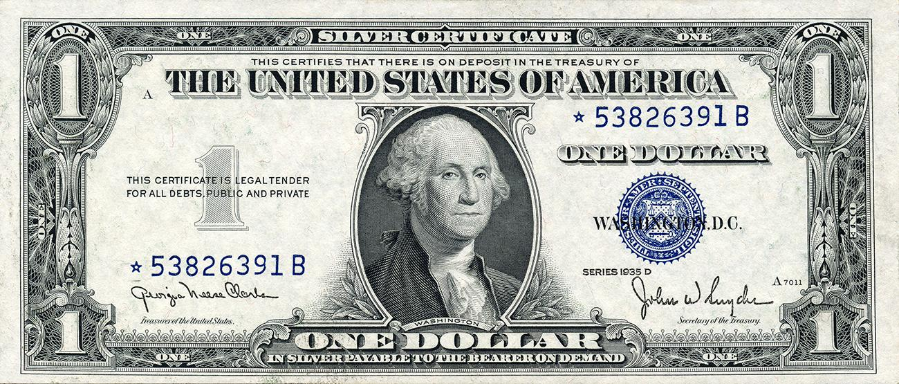 1935 American $1 bill