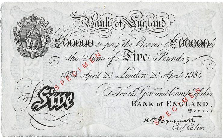 1934 British £5 note