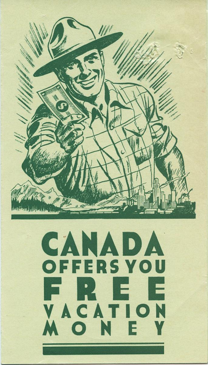 card showing a park ranger holding money