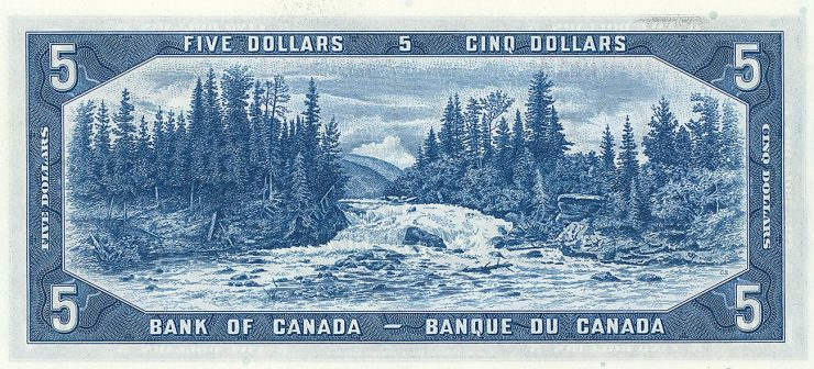 $5 bill showing river, falls, forest and mountains