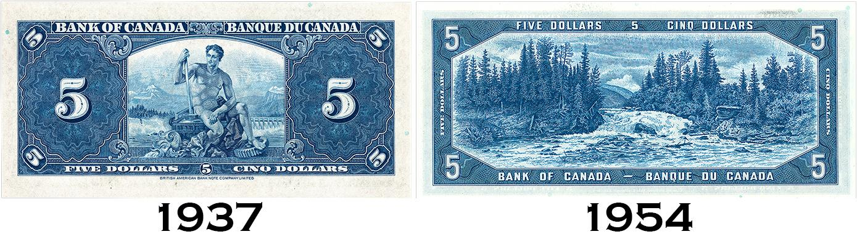 1937 Canadian 5-dollar bill and a 1954 Canadian 5 dollar bill