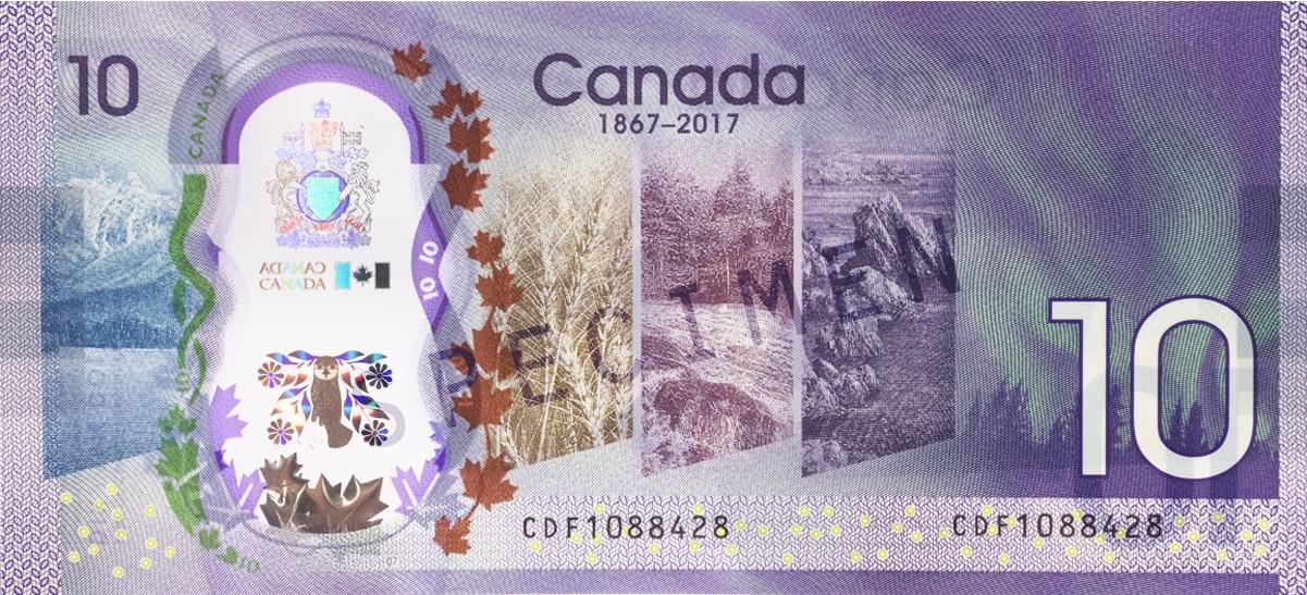 2017 commemorative 10-dollar bank note, back view