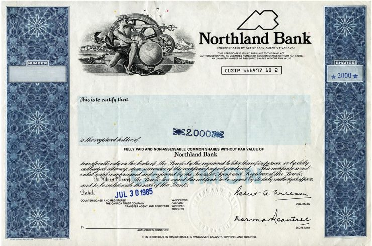 bank share certificate