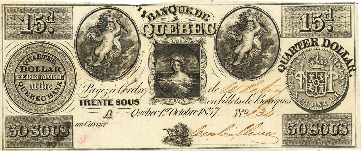 old Quebec bank note in French and English