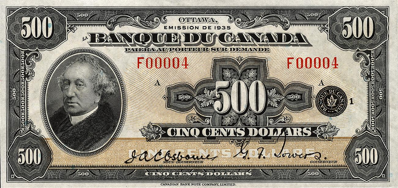 old French-only bank note with Sir John A. Macdonald