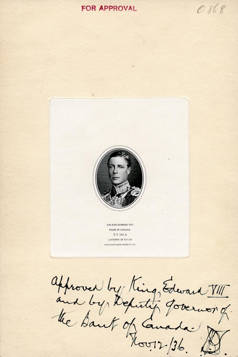 proof print of engraving of Edward VIII with handwritten approval