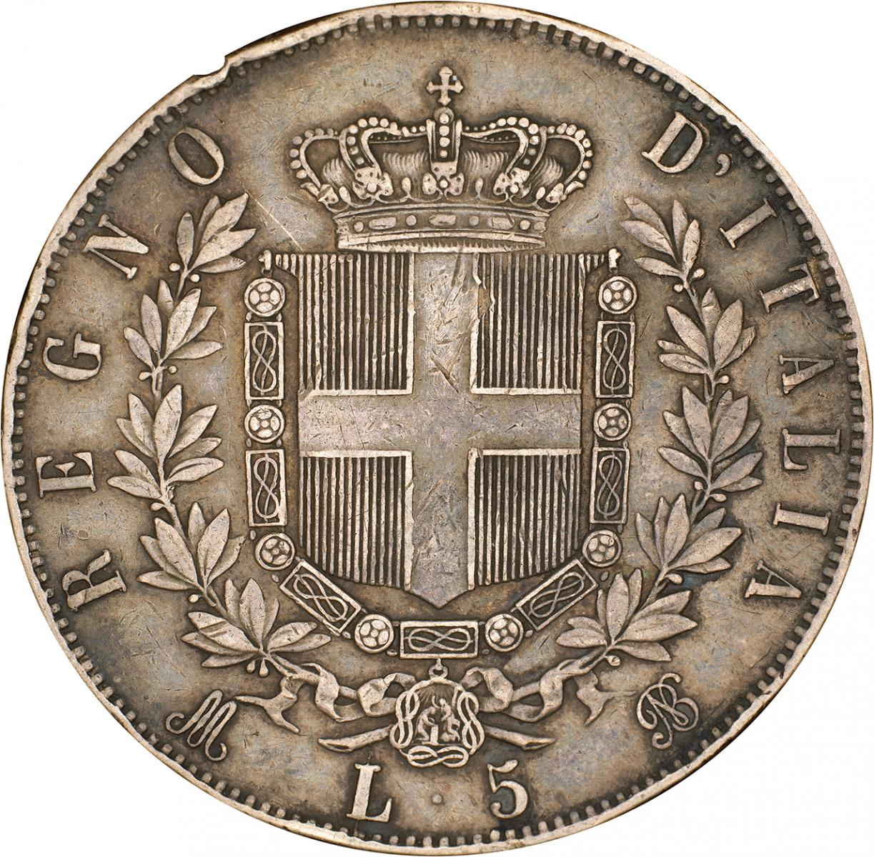 old Italian coin with shield, crown and laurels