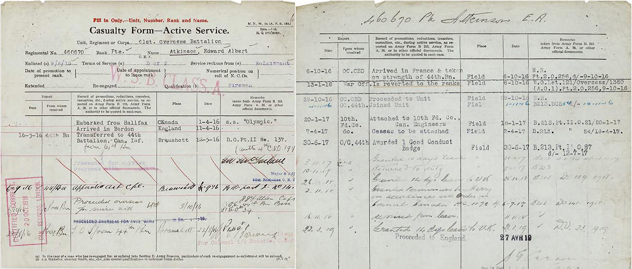 a page from Private Atkinson's war records held at Library and Archives Canada