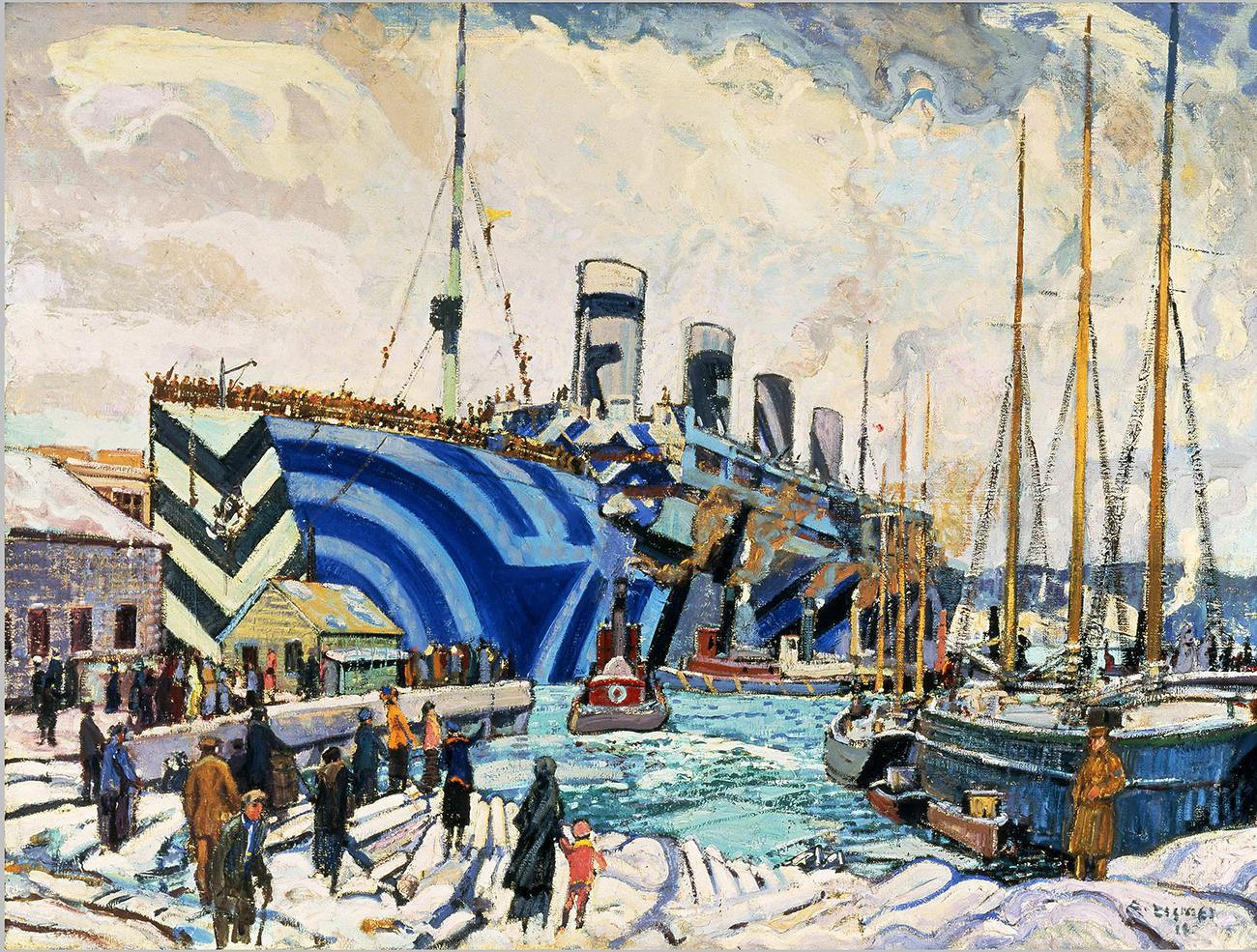 painting of a troopship in a harbour