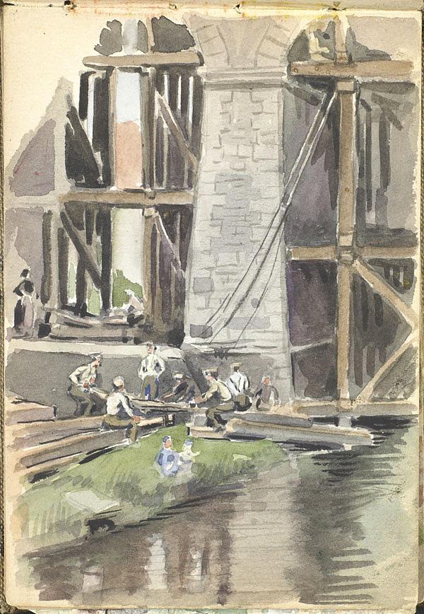 watercolour of men repairing a bridge