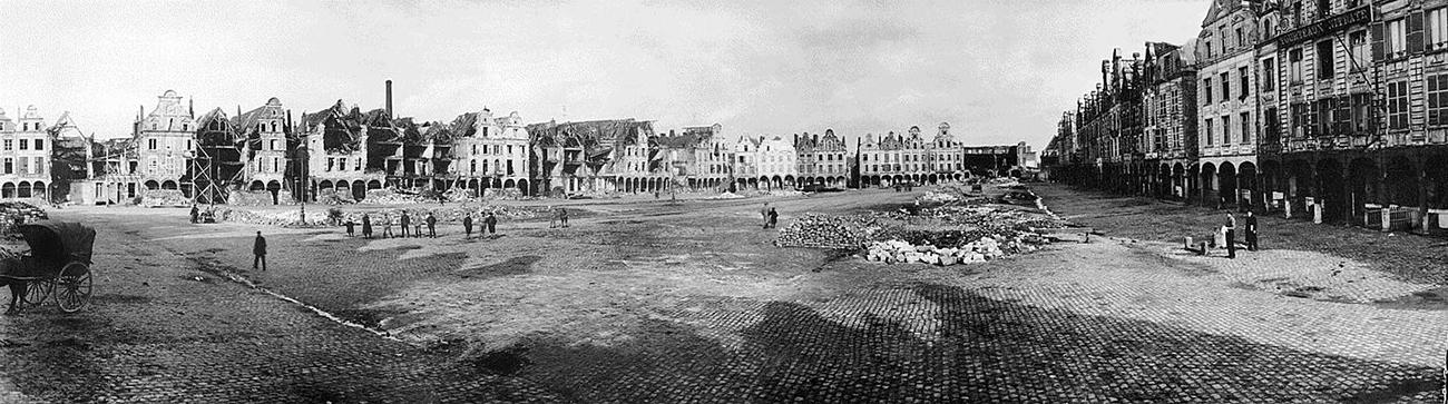 panoramic view of the ruins of a French town square