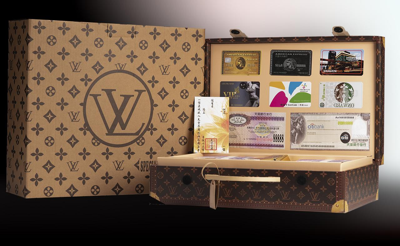 Paper briefcase with imitation money, credit cards and cheques