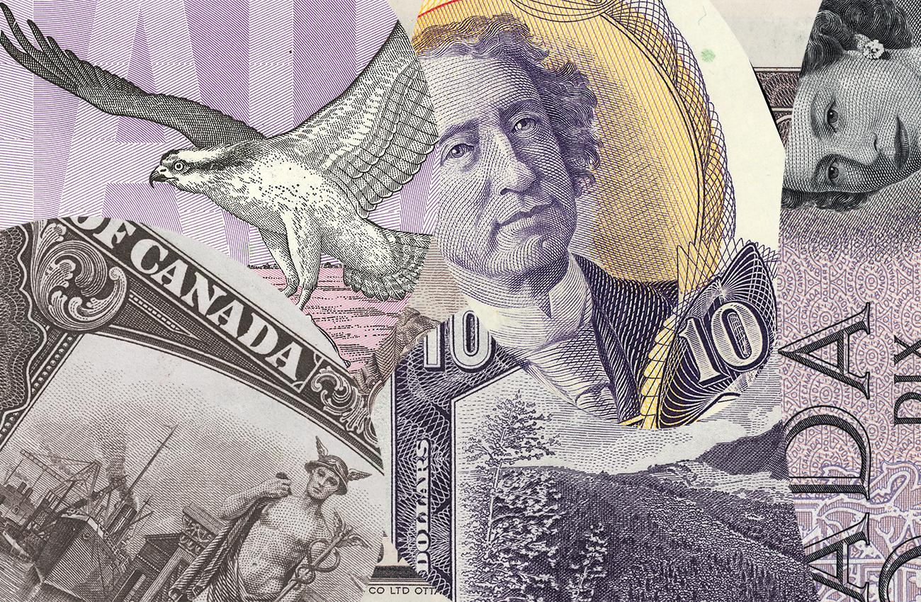 collage of Canadian $10 bills