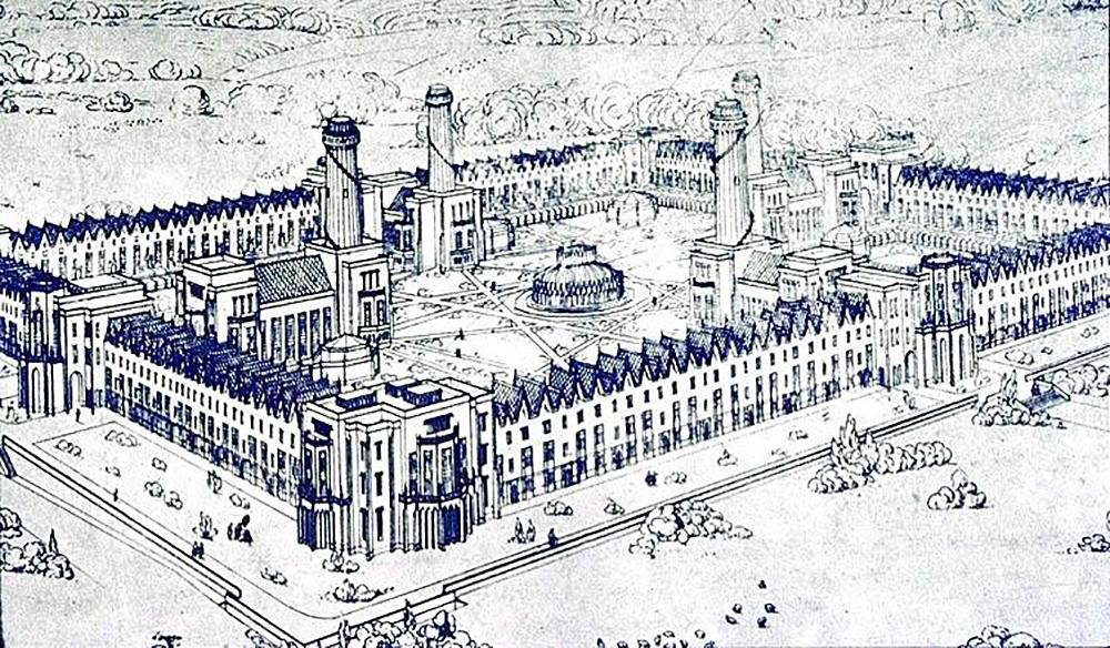 blueprint of a self-sustaining town ringed with working homes