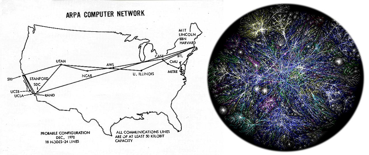 map showing 18 connected locations next to a graphic of millions of connections