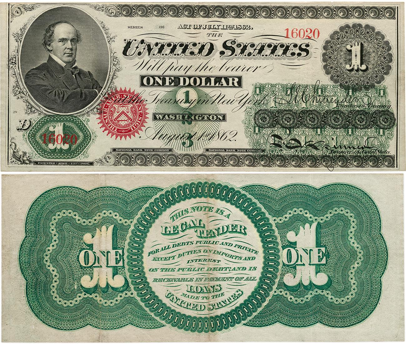 back of old US dollar bill with green patterns and a set of directives about how it could be used