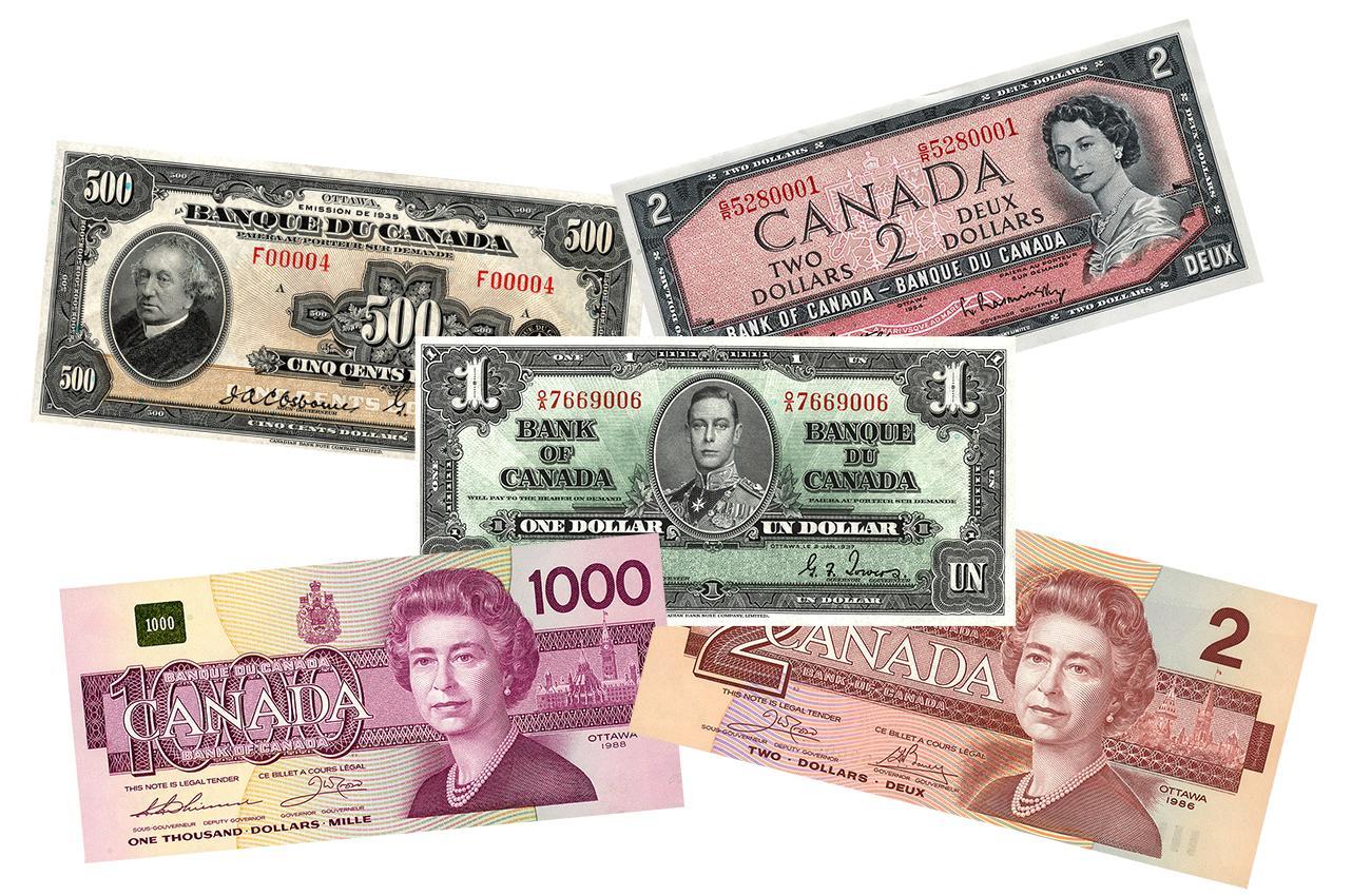 1935 $500 bill / 1937 $1 bill / 1954 $2 bill / 1986 $1000 bill